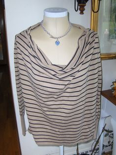 beef3bf4bd8 Love By Design Cowl Draped Neck Womens Top Long Sleeve Striped Tan Black  Small