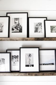 French Home Interior Floating Shelf Photo Gallery Gallery Wall Shelves, Picture Frame Shelves, Frame Shelf, Gallery Wall Frames, Photo Ledge Display, Photo Wall Displays, Wall Decor Frames, Shelves On Wall, Black Frames On Wall