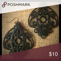 Steampunk black metal earrings. Large black metal steampunk earrings. Lightweight for their size. Jewelry Earrings