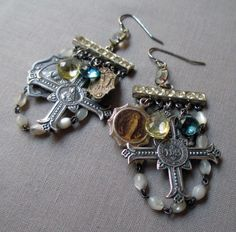 CHARMS of DEVOTION  vintage assemblage earrings by TheFrenchCircus, $68.00