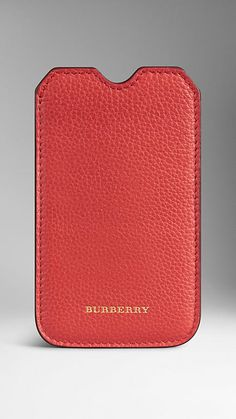 Burberry Orange Red Grainy Leather iPhone 5/5S Case - A grainy leather iPhone case complete with a card slot. The open-top design is finished with tonal stitching and hand-painted edges. Discover more accessories at Burberry.com