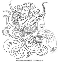Steampunk girl praying with closed eyes by warmtail on Fotolia Colouring Pages, Adult Coloring Pages, Coloring Books, G Dragon, Steampunk, Demon Eyes, Halloween Contacts, Demon Girl, Closed Eyes