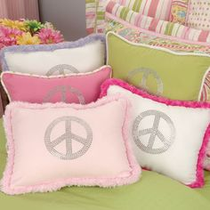 NORMA Rhinestone Peace Decorative Pillow In Choice Of Color