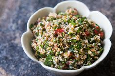 Tabbouleh ~ Fresh and easy tabbouleh parsley and bulgur wheat salad, with fresh parsley, mint, bulgur soaked in stock, tomatoes, olive oil and lemon juice. ~ SimplyRecipes.com