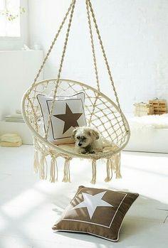 h ngesessel zum aufh ngen mit sitzkissen rund baumwolle spreizstab wei max 100 kg. Black Bedroom Furniture Sets. Home Design Ideas