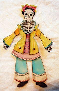 Articulated calavera paper dolls made for Dia de los Muertos by Tracie Noles-Ross!