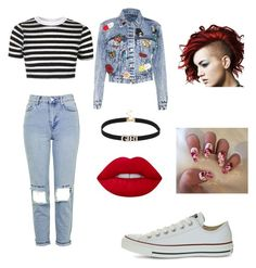 """""""Untitled #25"""" by ashhswim on Polyvore featuring Topshop, Alice + Olivia, Converse and Lime Crime"""