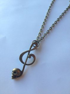 Music Note Skull Bass Clef Unisex Necklace by DoubleDmentia