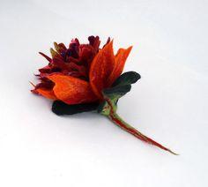 Felted Brooch Nunofelt flower Multicolor brooch Nuno felt Silk Silkyfelted Eco handmade tangerine jade red ruby fairy multicolor floral fantasy Fiber Art