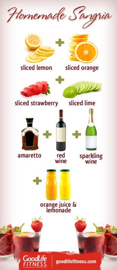 Salute the Summer Weather with this simple Sangria Recipe. Sangria with Amaretto, yum! Party Drinks, Wine Drinks, Cocktail Drinks, Cocktail Recipes, Beverages, Red Sangria Recipes, Homemade Sangria, Simple Sangria Recipe, Sangria Bar