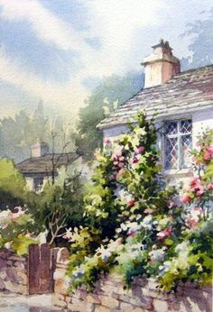 BRITISH ISLES - Grasmere England - Dove Cottage , Watercolor painting of the Dove Cottage in Grasmere, Lake District, England - Watercolor Paintings by Roland Lee