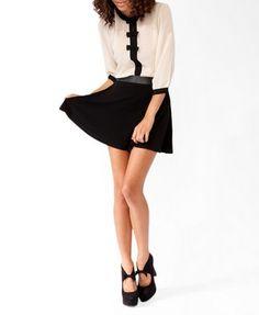 Coated Waist Skater Skirt   FOREVER21 - 2025889249