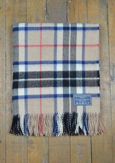 Luxury Lambswool Blanket in Thomson Camel Tartan