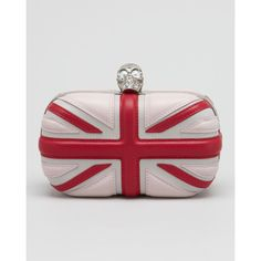 Alexander McQueen Leather Britannia Box Clutch, Ice Pink ❤ liked on Polyvore