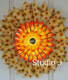 Hey, I found this really awesome Etsy listing at https://www.etsy.com/listing/281608320/yelloworange-sunflower-wreath-printed