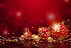 Red Christmas Background with Christmas Balls