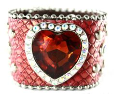 Red Exotic Leather with Rhinestone Hearts Cuff
