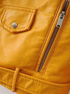 Yellow Faux Leather Belted Moto Jacket With Zipper – believe it clothing store Mahiru Koizumi, Nagito Komaeda, Faux Leather Belts, Leather Buckle, Film Kill Bill, Danielle Victoria, Cindy Aurum, Dirk Gently's Holistic Detective, Ibuki Mioda