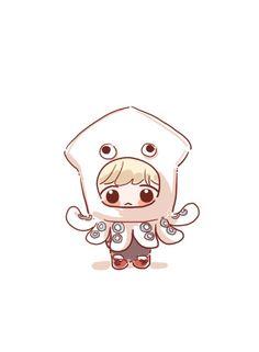 Art Drawings Sketches Simple, Kawaii Drawings, Cute Drawings, Cute Anime Chibi, Kawaii Anime, Baekhyun Fanart, Exo Stickers, Arte Van Gogh, Exo Fan Art
