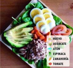 """""""Tuna Salad by This amazing salad is clean and super easy. It consists of only a few ingredients. Tuna in water, hard boiled eggs, tomatoes,…"""" Healthy Meal Prep, Healthy Snacks, Healthy Eating, Diet Recipes, Cooking Recipes, Healthy Recipes, Shrimp Recipes, Deli Food, Mets"""