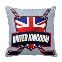 #British Ice Hockey UK Throw Pillow. Check out this custom made throw pillow. $29.95. To see this design on the full range of products, please visit my store: www.zazzle.com/gamefacegear*/ #HockeyPillows #IceHockey