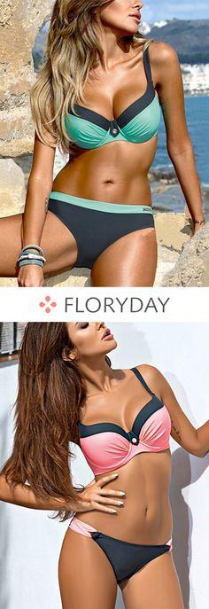Polyester Halter Color Block With Rim Bikinis Swimwear, polyester swimwear, color block, fashion, swimwear, summer, beach, bikini, sexy.