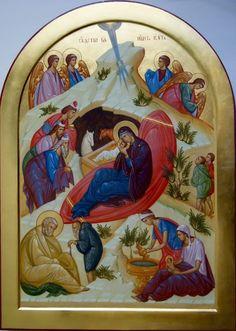 Nativity of Christ Byzantine Icons, Byzantine Art, Religious Icons, Religious Art, Greek Icons, Church Icon, Roman Church, Biblical Art, Art Icon