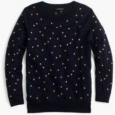 J.Crew Tippi Sweater ($120) ❤ liked on Polyvore featuring tops, sweaters, blue top, blue star sweater, embroidered top, layered tops and embroidered sweaters