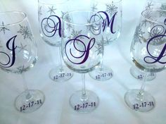 Snowflake wine glasses for winter wedding 6 by WaterfallDesigns
