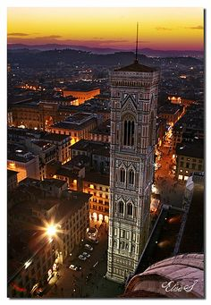 Sunset in Florence, province of Florence, Tuscany - Italy