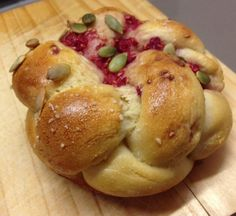 Happy New Year, here's some bread: Raspberry Pumpkin Seed Challah Buns