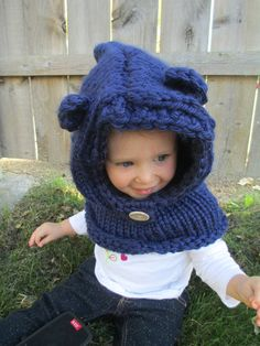 Navy Teddy Bear Hood