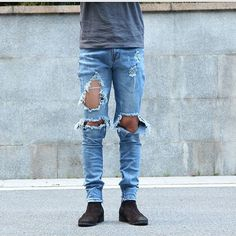 Item Type: Full Length Gender: Men Fit Type: Skinny Brand Name: None Waist Type: Mid Fabric Type: Denim Length: Full Length Closure Type: Button Fly Decoration: Ripped Pant Style: Straight Style: Fash
