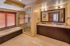 Village Walk master bath. #TahoeMountainLodging