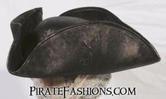 This be the pirate black or bloody red version of the Jack Sparrow hat without the special tarriff from the East Indian Mouse Company. If ye be in search of the perfect pirate hat, this be it. • Made