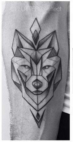 Simple Geometric Wolf with Arrowheads Forearm Tattoo