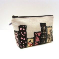 Zipper Pouch  Skyscrapers in Brown Pink and Yellow by LMcreation