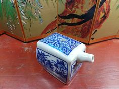Japanese Large Rectangular Blue And White Porcelain Flowers