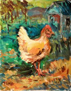 Chicken Print from original painting,  8x10 signed, by Russ Potak. $20.00, via Etsy.