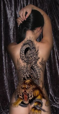 This is crazy and beautiful at the same time!  Must have taken hours/weeks to do!  Tattoo Dragon and Tiger by byra666.deviantart.com on @deviantART