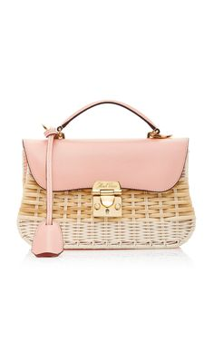 Mark Cross Rattan Dorothy Bag In Pink Novelty Handbags, Novelty Bags, Straw Handbags, Sac Hermes Kelly, My Bags, Purses And Bags, Leather Crossbody, Leather Bag, Rattan