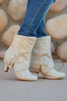 Laying Low Booties - Cream from Closet Candy Boutique