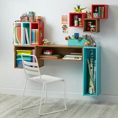 Our shelves easily brighten and organize your kids' room. Shop a variety of wall shelves for your kids' room, playroom or nursery. Narrow Wall Shelf, Cube Wall Shelf, Wall Shelves, Build Shelves, Shelf Desk, Desk Cubby, Cube Desk, Wall Desk, Home Decor Online