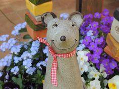 Gartendekoration - ♥Zaunhocker Maus Rosi♥ - ein Designerstück von TausendkleineDinge bei DaWanda