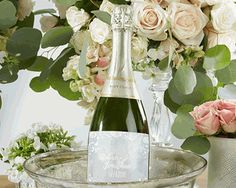 Personalized Wine Bottle Labels - Ethereal- Whether you're gifting wine as favors, or simply placing bottles out on tables to enjoy by guests, our Personalized Wine Bottle Labels from the Kate Aspen Ethereal collection bring your wine into your celeb Wedding Favor Labels, Floral Wedding Invitations, Wedding Favors, Party Favors, Wedding Decor, Mini Wine Bottles, Wine Bottle Labels, Wine Bottle Crafts, Personalized Wine Bottles