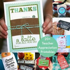 Over 20 printables and gift ideas for teacher appreciation