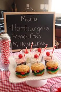 "Photo of Cupcakes And Polkadots - Diner"" themed birthday party. Milkshake and burger cupcakes"" - Chardon, OH Grease Themed Parties, 50s Theme Parties, Grease Party, 70th Birthday Parties, 50th Birthday Party, Retro Birthday, Birthday Ideas, Fifties Party, 1950s Party"