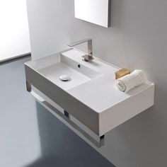 Rectangular Ceramic Wall Mounted Sink With Counter E Includes Towel Bar
