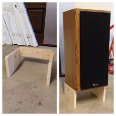 DIY Speaker Stand w/ 5 degree tilt. Super easy if you have a table saw. The small angle cut can be a pain, I made a small wood jig to make the cut. Not perfect, but worked in a pinch.