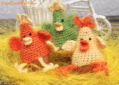 Easter gift Crochet Chicken SET of 3 door MagicCrochetByHelena